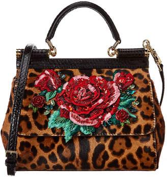 Dolce & Gabbana Sicily Medium Embroidered Haircalf & Snakeskin Satchel