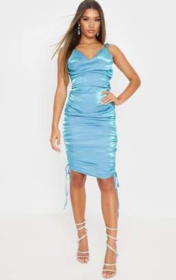 PrettyLittleThing Blue Metallic Shimmer Cowl Neck Tie Strap Midi Dress