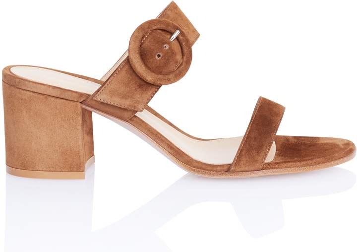 Gianvito Rossi Block Heel Brown Suede Sandal