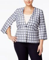 Nine West Plus Size Zip-Sleeve Plaid Blazer