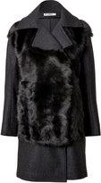 Jil Sander Fur Panel Coat in Dark Grey