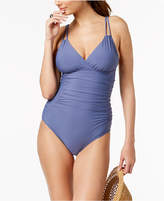 Calvin Klein Liquid Shirred Tummy-Control One-Piece Swimsuit Women's Swimsuit