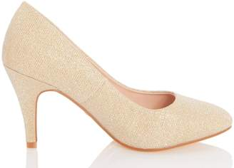 Dorothy Perkins Womens *Quiz Wide Fit Gold Almond Toe Court Shoes, Gold