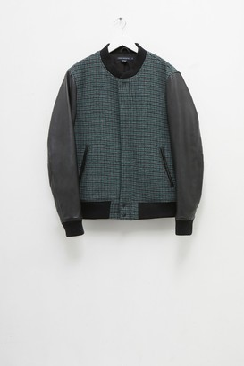 French Connection Houndstooth Wool & Leather Jacket