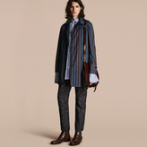 Burberry Reversible Pyjama Stripe Print Car Coat , Size: 52, Blue