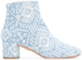 Aquazzura patterned ankle boots - women - Cotton/Calf Leather/Leather - 37