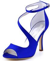ElegantPark HP1565 Women Satin Ankle Strap Peep Toe Sandals Stiletto Heel Pumps Evening Party Prom Shoes Blue US 8.5