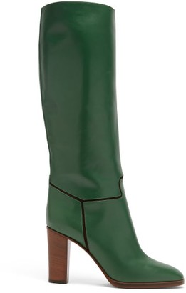 Victoria Beckham Piped Knee-high Leather Boots - Green