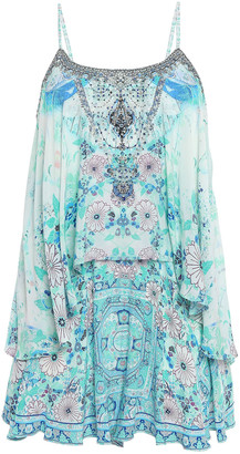 Camilla Tiered Embellished Printed Silk Crepe De Chine Playsuit
