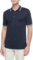 Salvatore Ferragamo Tape-Tipped Short-Sleeve Polo, Blue