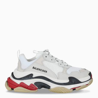 Balenciaga White, black and red Triple S women's sneakers