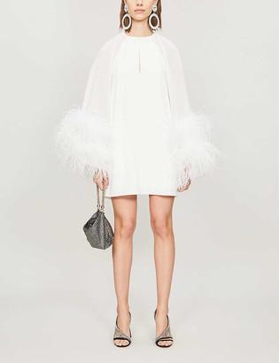 16Arlington Daphnie feather-embellished crepe mini dress
