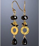 black garnet cluster circle drop earrings