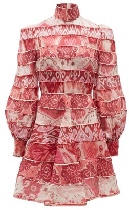Zimmermann Wavelength Tiered Linen-blend Mini Dress - Pink Multi