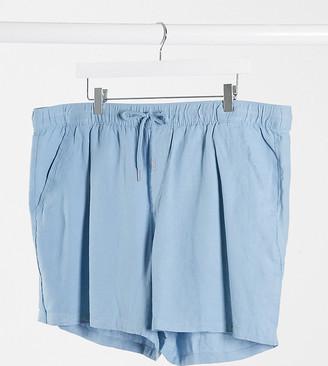 ASOS DESIGN Plus slim linen shorts in blue