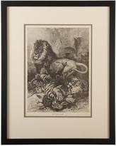 Rejuvenation Framed Lion and Tiger Specht Engraving c1880