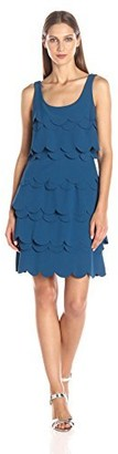 Julia Jordan Women's Sleeveless Laser Cut Tiered Fit and Flair Stretch Crepe Dress