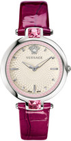 Versace 36.5mm Olympo Watch w/ Crystals & Leather Strap, Violet