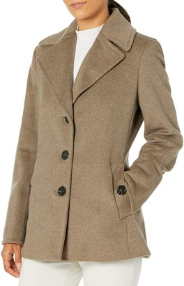 Calvin Klein Petite Womens Double Breasted Peacoat