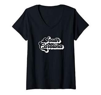 Womens South Carolina Retro State V-Neck T-Shirt