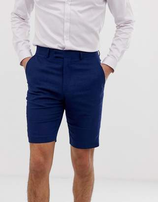 French Connection wedding slim fit plain linen shorts-Blue