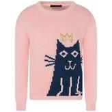 Frankie Morello Frankie MorelloGirls Pink Knitted Cat Sweater