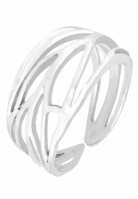 Elli Women's 925 Sterling Silver Genuine Jewellery Wrapped Nature Leaf Adjustable Ring Sizes M N P Q