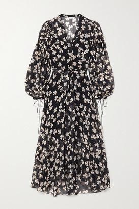 Loewe Belted Printed Silk-blend Voile Maxi Dress - Black