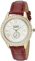 Burgi Women's BUR144BUR Yellow Gold Quartz Watch With Silver Dial and Swarovski Crystal Accented Bezel And Burgundy Leather Strap