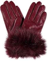 Kaleidoscope Faux Fur Cuff Leather Gloves
