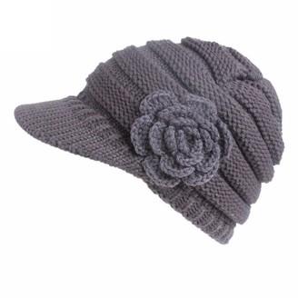 "Ronamick Hat Cap Knit Hat Cap Ronamick Women Ladie Winter Warm Knitting Buckle Crochet Beanie Hat Berets Turban Brim Slouchy Hat Cap Pile Cap (17.33-23.63"""