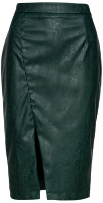 Conquista Green Faux Leather Pencil Skirt