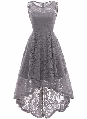 Alieyaes Women's Vintage Floral Lace Sleeveless Hi-Lo Formal Cocktail Party Swing Dress Grey