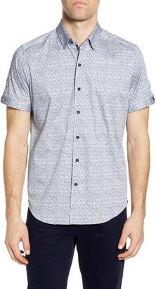 Robert Graham Porter Trim Fit Floral Short Sleeve Button-Up Shirt