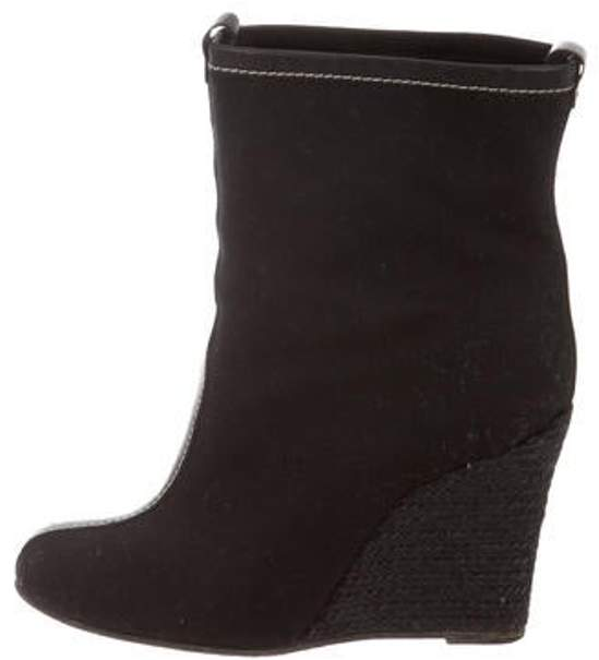 82ef74bcd44 Canvas Wedge Boots Black Canvas Wedge Boots