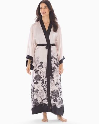 Soma Sensuous Silk Kimono Robe Heirloom Border Soft Sand