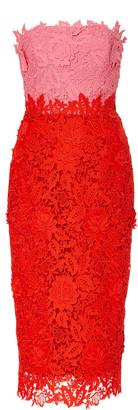 Lela Rose Strapless Two-Tone Guipure Lace Midi Dress