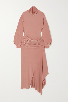AAIZÉL Asymmetric Draped Stretch-jersey Turtleneck Midi Dress - Camel