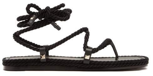 Valentino Satin Rope Wraparound Sandals - Womens - Black