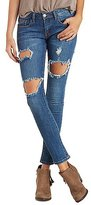 Charlotte Russe Machine Jeans Dark Wash Destroyed Skinny Jeans