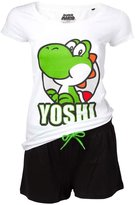 Nintendo Official Womens Super Mario Bros Yoshi Shortama Pyjama Set Ladies