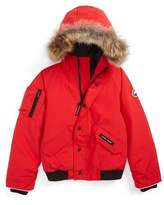 Canada Goose Toddler 'Rundle' Down Bomber Jacket With Genuine Coyote Fur Trim