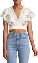 Zimmermann Laelia Cross Stitch Floral Crop Top