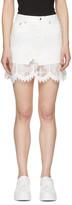 McQ by Alexander McQueen Ivory Denim Lace Miniskirt