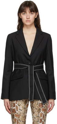 Proenza Schouler Black White Label Stretch Suiting Relaxed Tie Blazer