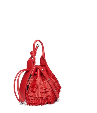 behno Ina Mini Crossbody Raffia Fringe Red