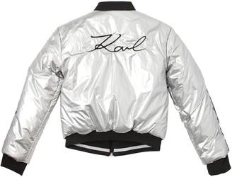 Karl Lagerfeld Paris Reversible Nylon Bomber Jacket