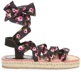 Prada Rose-Print Wraparound Flatform Espadrille Sandals