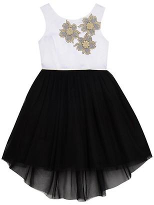 Belle By Badgley Mischka Girl's Tulle Skirt Flower Applique Dress