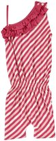 Kickee Pants Ruffle Romper (Toddler/Kid) - Bubblegum Stripe-2T